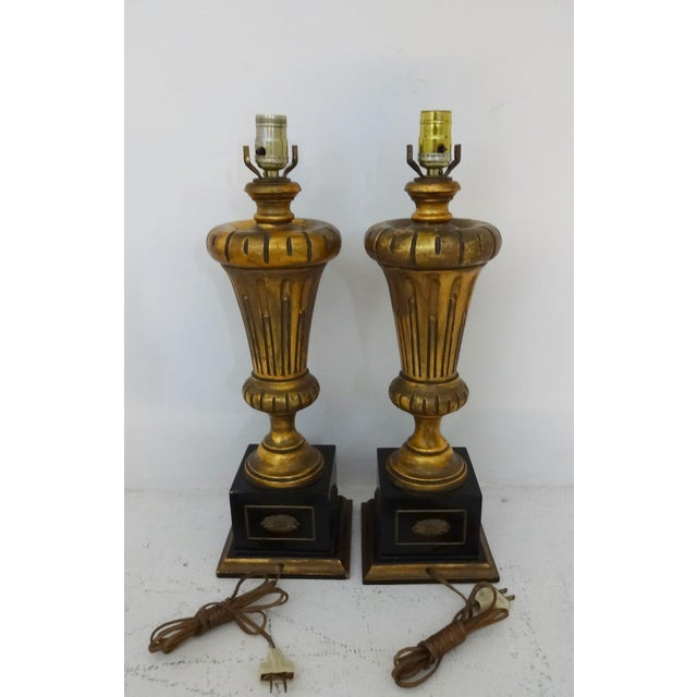 Vintage Gilded Wood Lamps - A Pair For Sale - Image 4 of 7