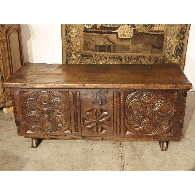 Large Carved Oak Plank Trunk From the Basque Country, Circa 1650 For Sale - Image 9 of 13