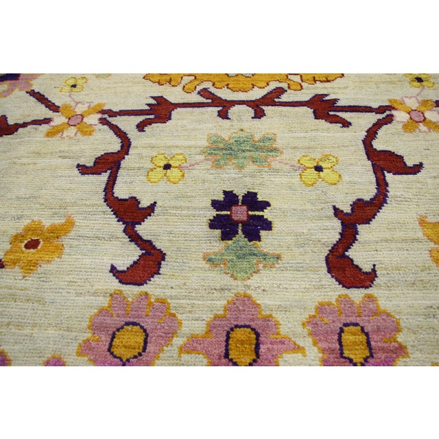 2010s Contemporary Colorful Turkish Oushak Rug - 10'04 X 15'08 For Sale - Image 5 of 6