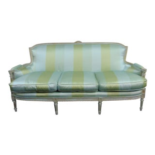 Louis XVI Hand Carved Blue Painted Silk Sofa For Sale
