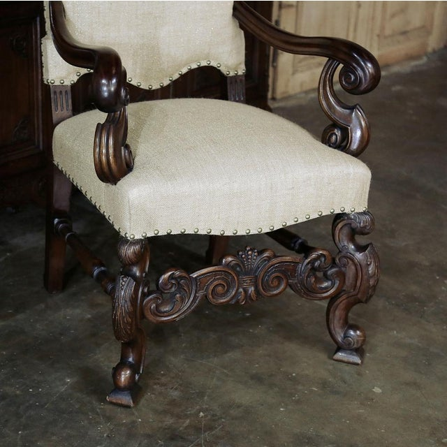 19th Century French Walnut Louis XIV Armchair For Sale - Image 9 of 13