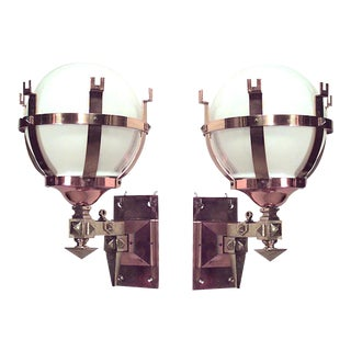 American Mission Bronze and Copper Wall Sconces - a Pair For Sale