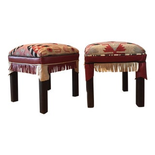 Boho Kilim and Leather Ottomans - a Pair