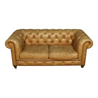 Vintge Leather Tufted Chesterfield Loveseat For Sale