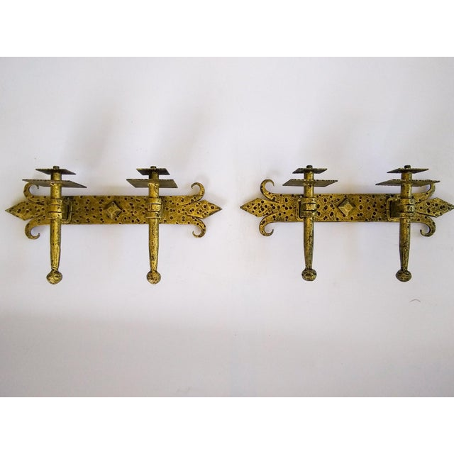 1960 Mid Century Spanish 2 Arm Gilded Metal Sconces - a Pair For Sale In Atlanta - Image 6 of 6