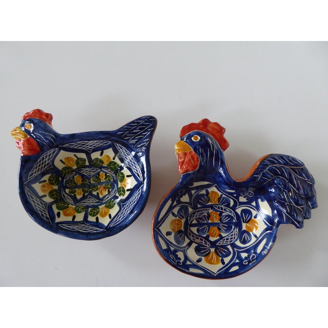 Handcrafted Ceramic Rooster & Hen Bowls - A Pair For Sale - Image 10 of 10