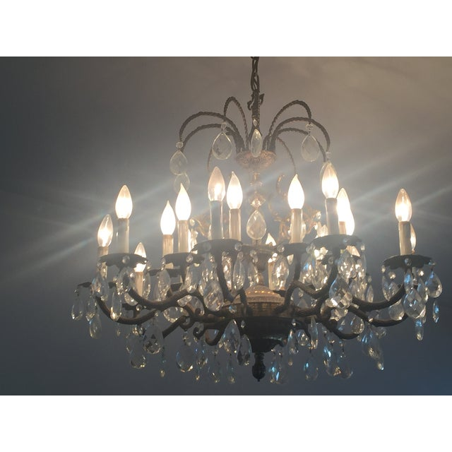 Antique Brass Crystal Chandelier - Image 5 of 5