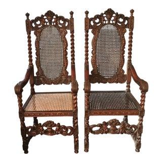 Late 19th Century Jacobean Renaissance Revival Cherub Carved Throne Arm Chairs - a Pair