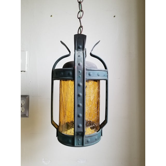 Antique Art & Craft Copper & Amber Glass Lantern For Sale - Image 11 of 11