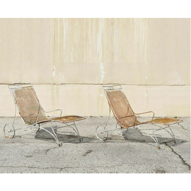 Mid Century Modern Russell Woodard Wrought Iron Patio Chairs- A Pair For Sale - Image 13 of 13