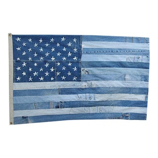 "Ralph Lauren Style Denim Patchwork American Flag Art Throw 58"" X 36"""