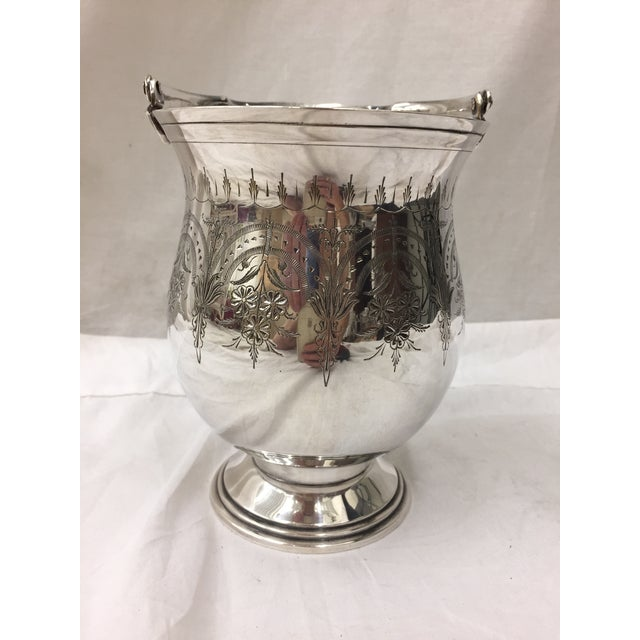 Antique Etched Silver Vase For Sale - Image 4 of 10