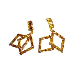 1960's Weiss Amber Crystal Dangling Drop Earrings For Sale