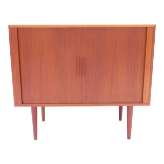 A Danish Modern Teak Record Cabinet by Kai Kristiansen for Fm Tambour Console For Sale
