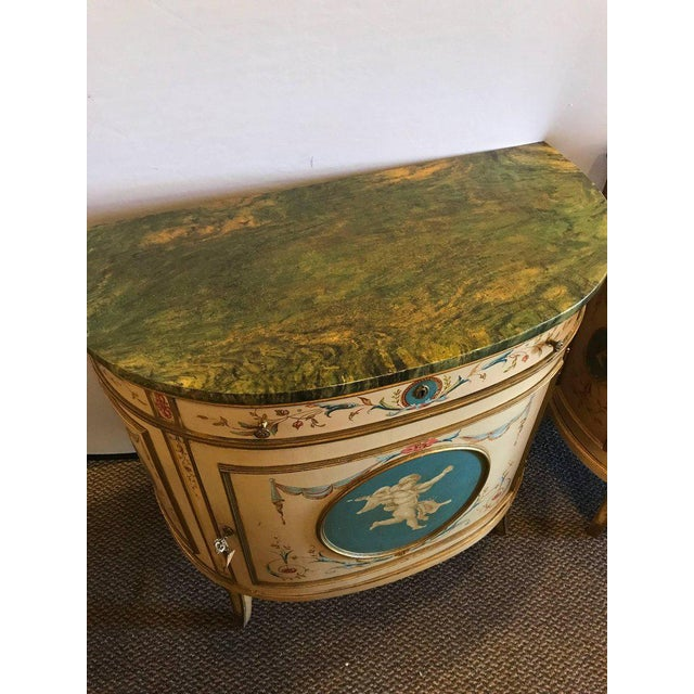 Adams Style Demilune Painted Commodes - A Pair - Image 3 of 11