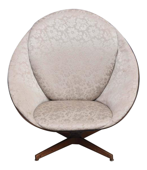 Rare Early Edition Plycraft Swivel Wooden Egg Chair, 1950s, USA For Sale