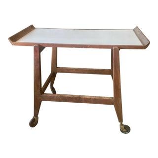 1960s Danish Modern Jens Risom Design Teak Bar Cart For Sale