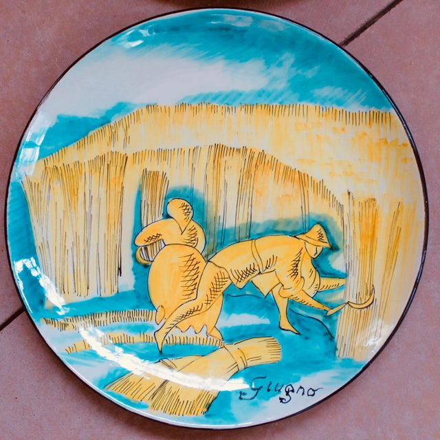 Italian Set of 12 Italian Maiolica Dinner Plates, Painted With Country Life Scenes For Sale - Image 3 of 13
