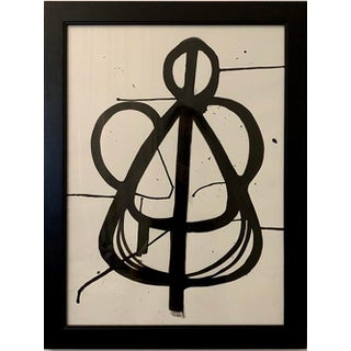 Original Black and White Ink Framed Painting For Sale