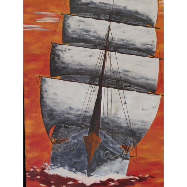 1972 Vintage Mid Century Sailboat Ship Painting by Michael V. Beckham For Sale - Image 4 of 9