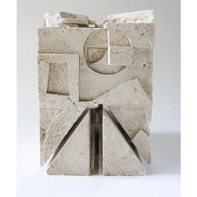 Hard plaster Mid Century abstract tabletop sculpture or architectural fragment. No markings, could be a maquette. Very...