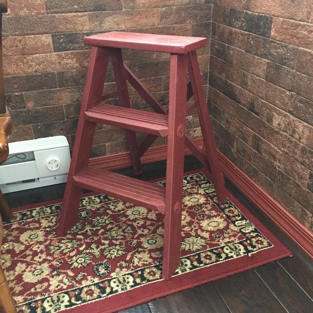 Vintage Painted Wood Step Ladder - Step Stool For Sale - Image 11 of 11