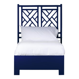 Chippendale Bed Twin - Navy Blue For Sale