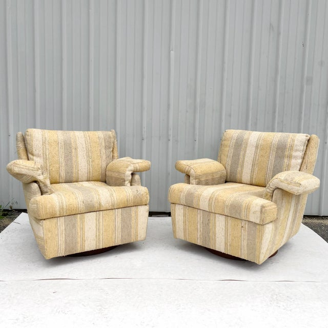 Pair Mid-Century Swivel Lounge Chairs From Craft Associates For Sale - Image 13 of 13