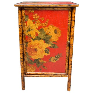 Painted and Decoupage Bamboo Side Cabinet For Sale