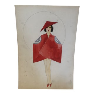 Vintage Chinese Costume Watercolor by Lester Design Company For Sale