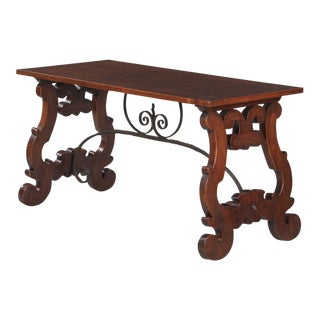 1900s Spanish Oak Console Table With Iron Stretcher For Sale