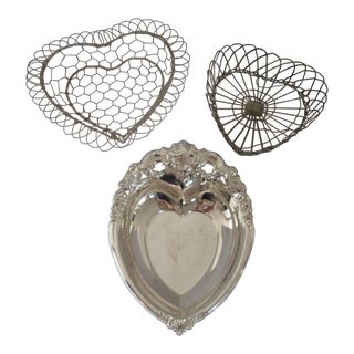 Three Heart Shaped Serving Dishes- 3 Pieces For Sale