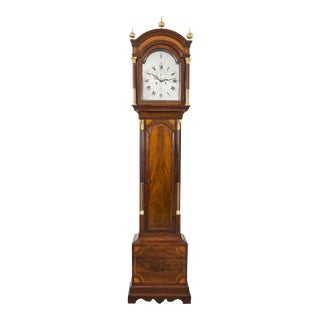 George III Mahogany Inlaid Tall Case Clock by James Clarke, circa 1770 For Sale