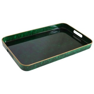 Fantastic Otagiri Faux Lacquered Malachite Gilt Rimmed Serving Tray