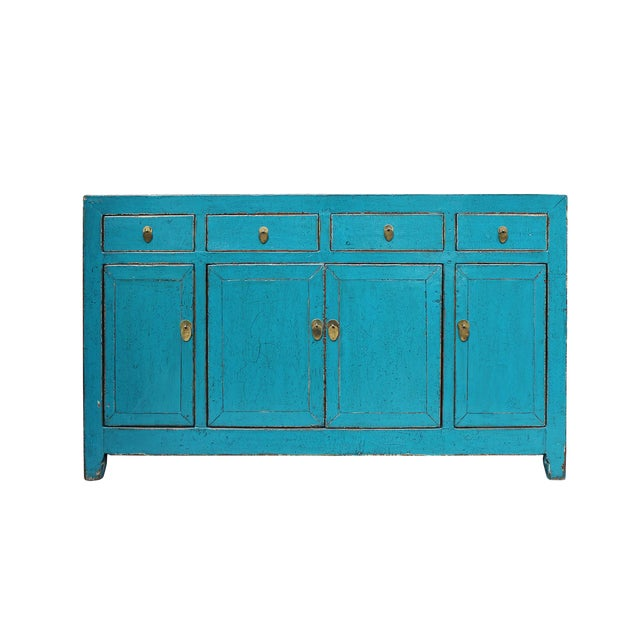 Chinese Distressed Rustic Blue Sideboard Buffet Table Cabinet For Sale