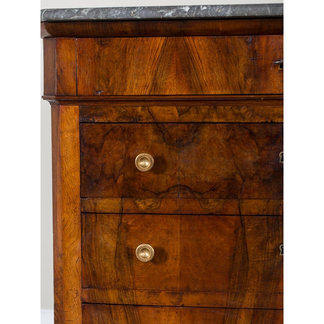 Antique French Louis Philippe Burl Walnut Chest with Marble Top circa 1850 - Image 5 of 11