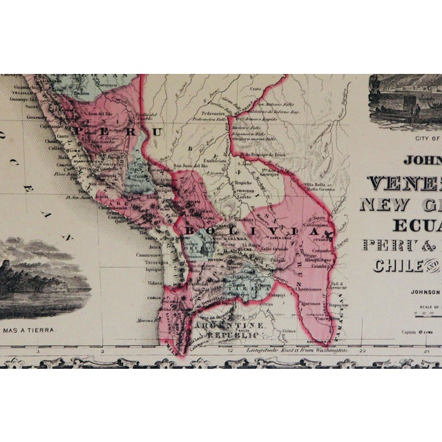 Grand Tour Vintage South America Map For Sale - Image 3 of 10