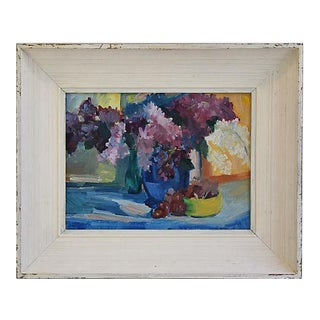 1940s Beautiful Floral Still life Oil Painting