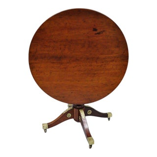19th Century French Empire Style Round Mahogany Tilt Top Table For Sale
