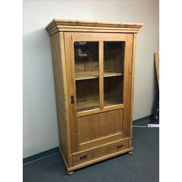 Antique Rustic Wood Armoire With Glass Doors - Image 2 of 11