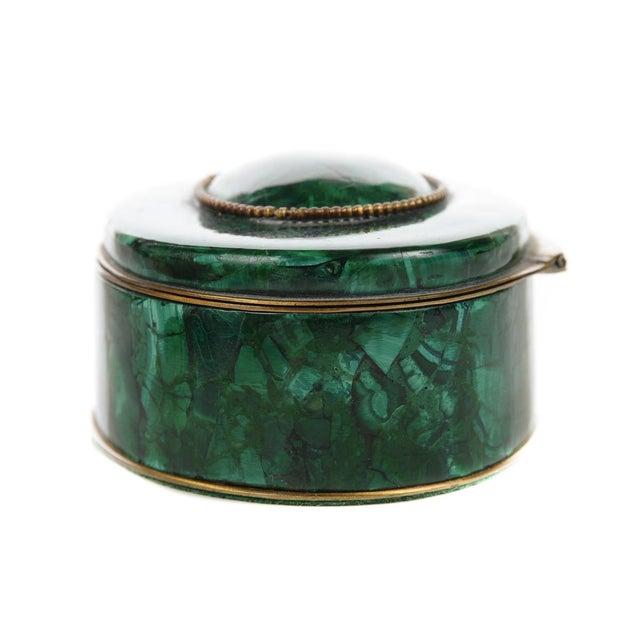 Russian Malachite Oval Compact Jewelry Box - Image 7 of 8