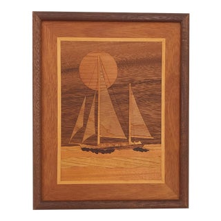Vintage Wood Sailboat Wall Hanging For Sale