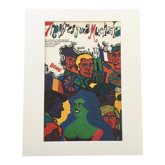 """1970s Vintage """"7 Hombres Y Una Muchacha"""" Print of Cuban Poster for French Film For Sale"""