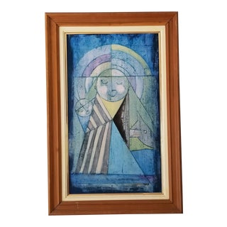 70's Torres Modernist Geometric Figurative Oil on Canvas Painting . For Sale