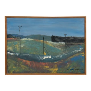 Field With Powerlines Painting by Emma Losecke Nielsen For Sale