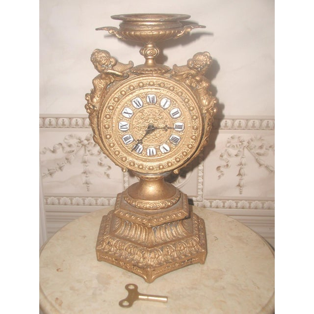 1890-1900 Mayer 8 Day Cherub Gilt Clock For Sale - Image 9 of 9