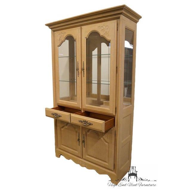 Wood Stanley Furniture Country French Blonde Display China Cabinet For Sale - Image 7 of 13