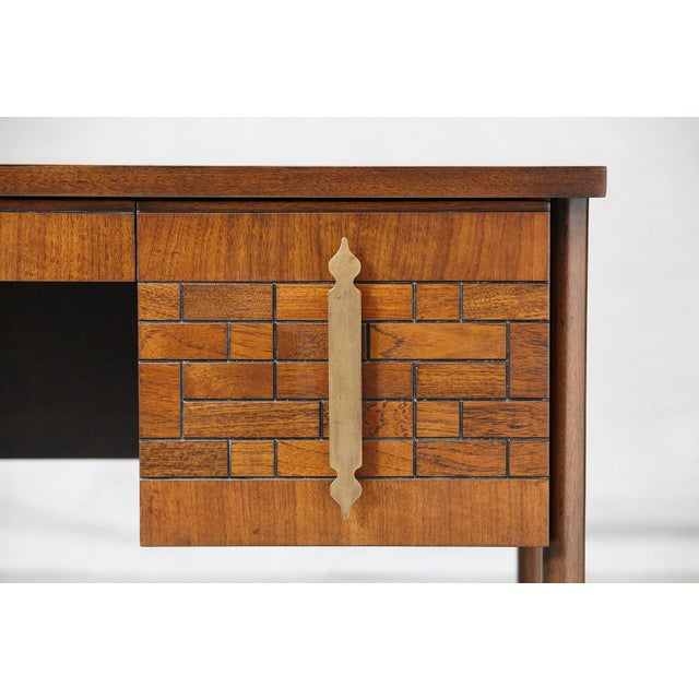 Walnut Desk With Graphic Wood Work and Brass Hardware, 1970s For Sale - Image 11 of 12
