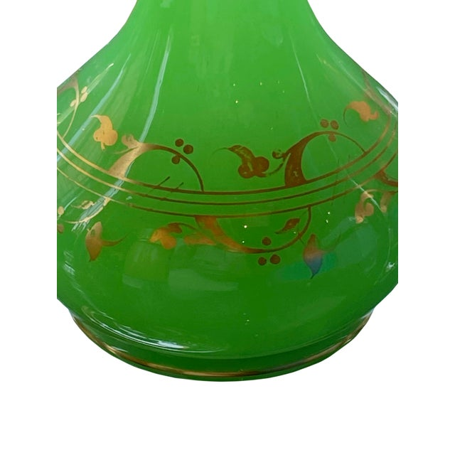 French Antique French Green Opaline Glass Vase For Sale - Image 3 of 6