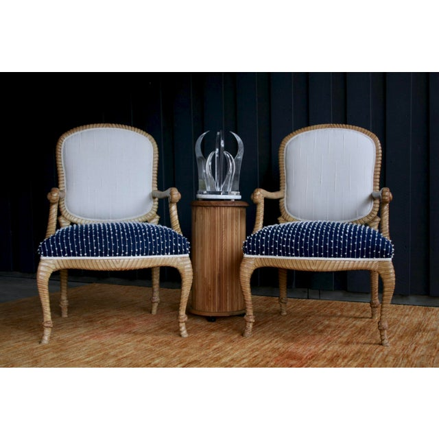 Boho Chic Newly Upholstered Rope & Tassel Armchairs, a Pair For Sale - Image 3 of 12